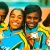 Gold for The Bahamas at the 1999 World Track and Field Championships in Seville, Spain. Left to right: Sevatheda Fynes, Debbie Ferguson, Pauline Davis- Thompson and Chandra Sturrup. Photograph by Shaun Botterill/Allsport
