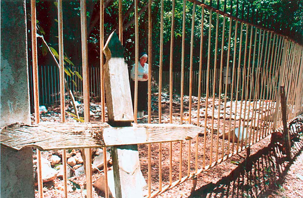 Sister Marie Therese at the Sisters' Cemetery, Marine Bay. Photograph by Catherine Gillo