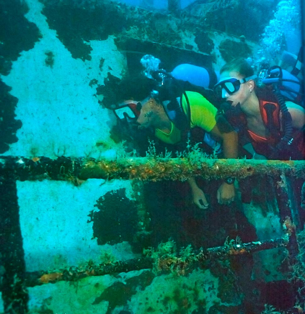 Divers on the Stavronikita. Photograph by Mike Toy