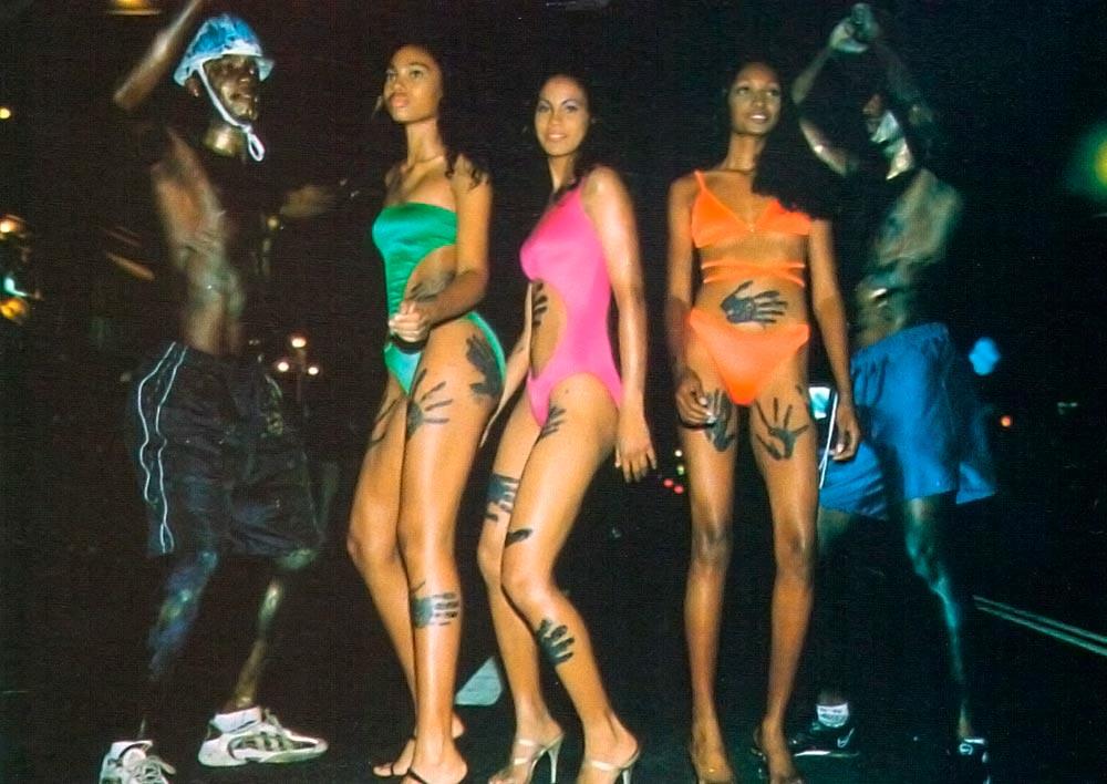 J'Ouvert Jammin': Neon green nylon unikini, fuscia nylon cutaway unikini and neon orange nylon bikini with string bra