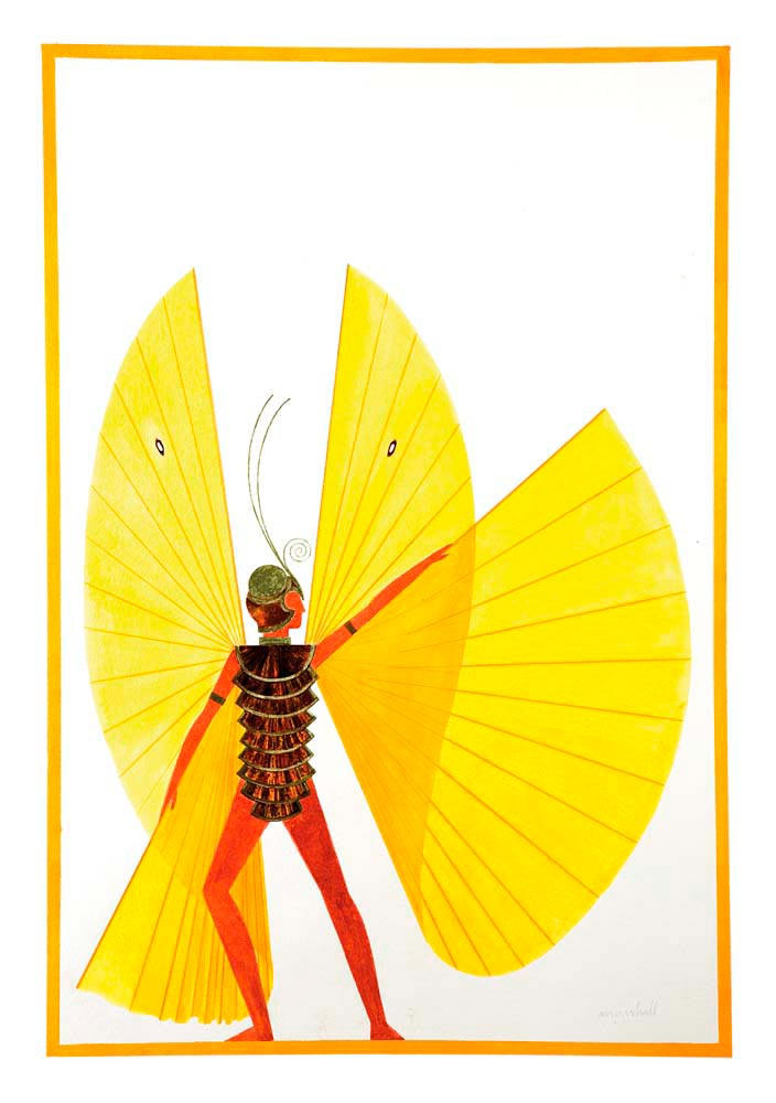 From Minshall's drawing to the Savannah stage: a wave of yellow butterflies from the Garden of Eden section. Costume drawing courtesy Peter Minshall