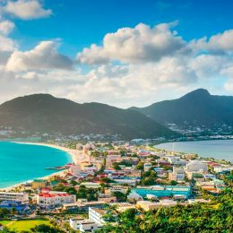 Philipsburg, capital of Dutch Sint Maarten, stretches between Great Bay and Great Salt Pond. Photo by Sean Pavone / Shutterstock.com