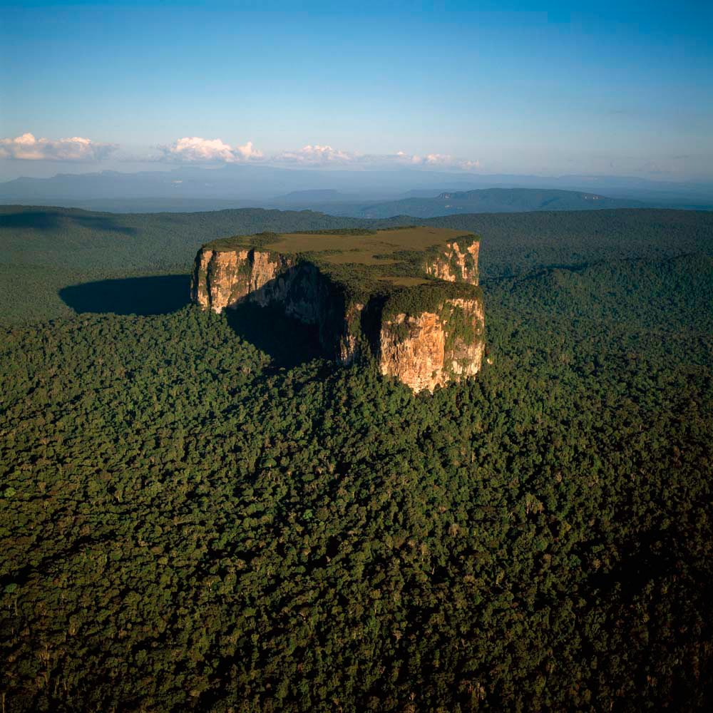Aerial image of Ayangaik mountain, Upper Mazaruni District, Guyana. Photo by Corbis Images