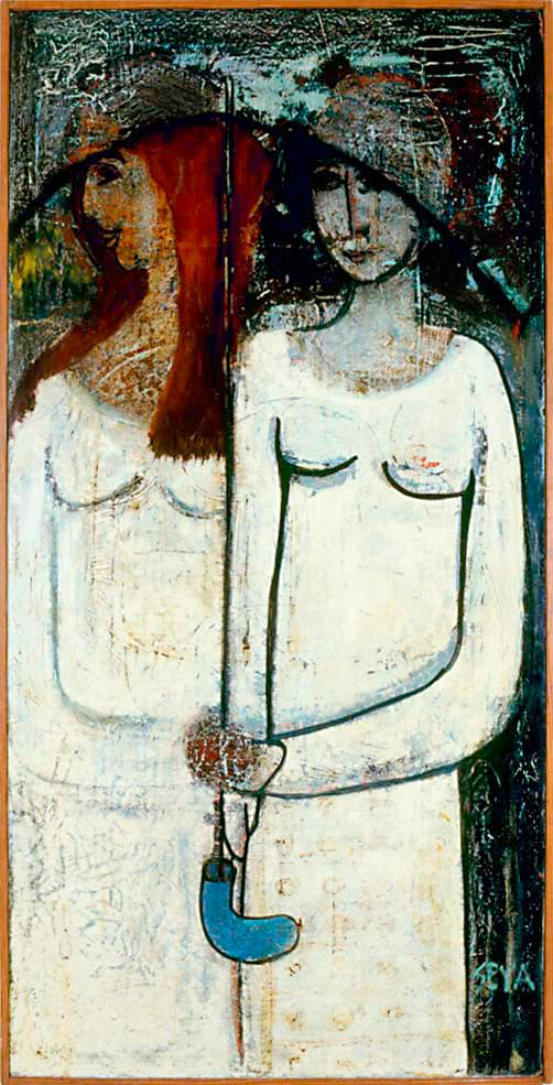 Under An Umbrella, 1978, mixed media on composite board