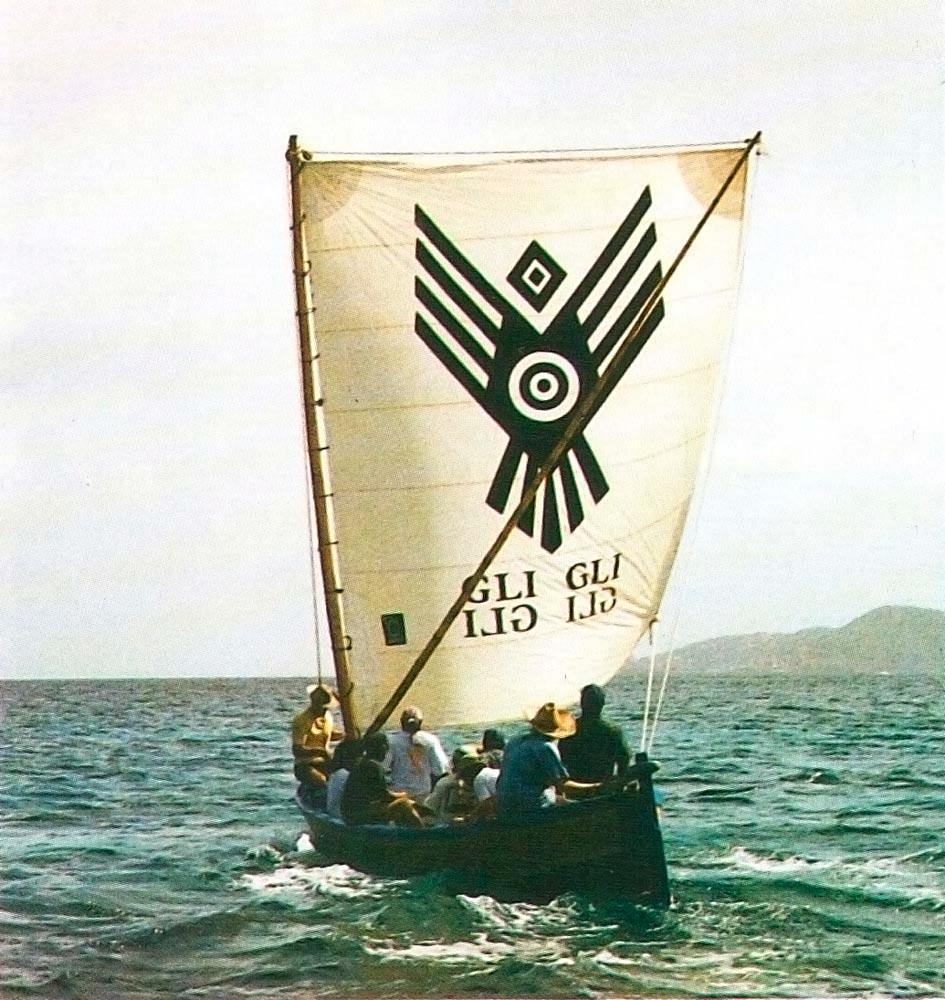 The Carib dugout canoe Gli Gli sails through the Grenadines in 1997. Photograph by Simon Lee