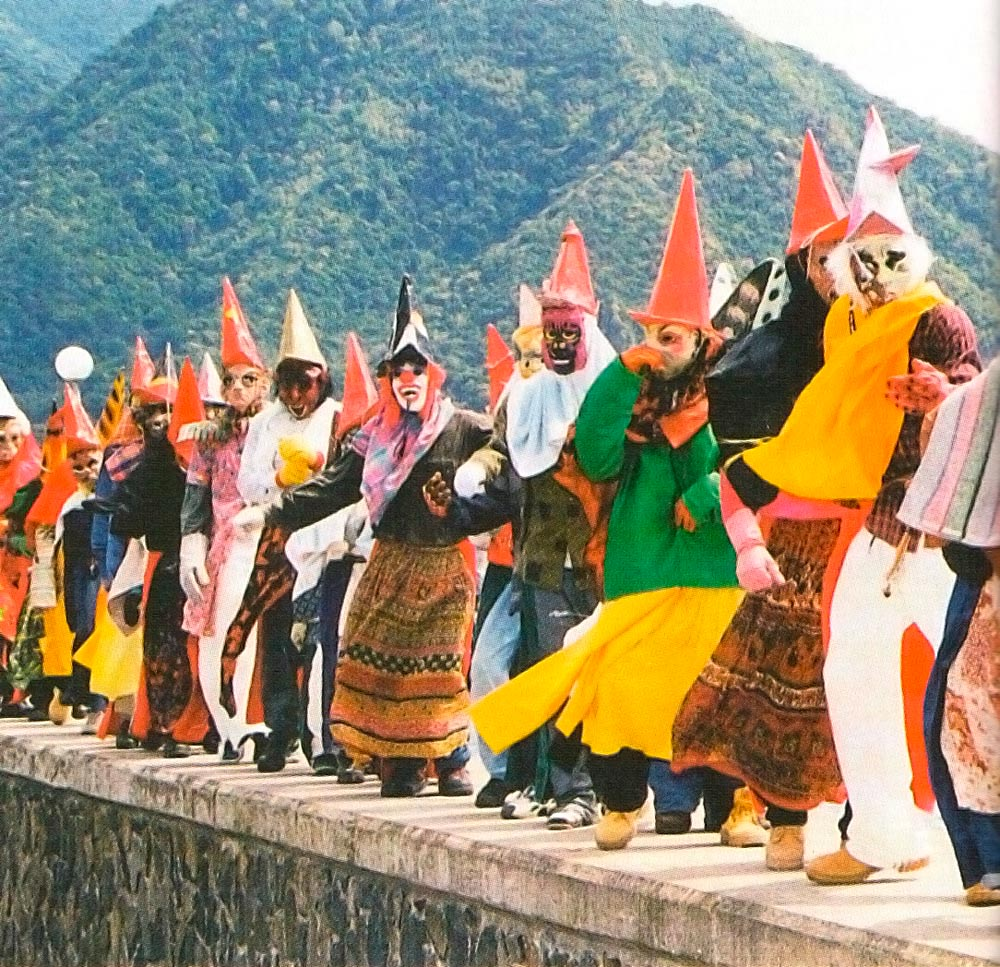 Mauaw, a traditional masquerade band from Colihaut. Photograph by Edmund Toulon