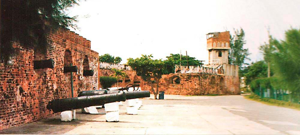 Side view of Fort Charles. Photograph by Lloyd Crouldbourn/ Port Royal Development Co.