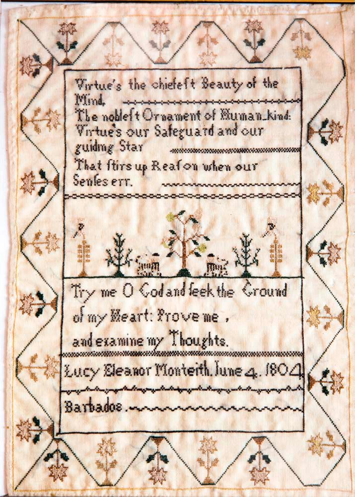 An 1804 embroidered sampler from Barbados, from Bissessarsingh's collection. Photo by Mark Lyndersay