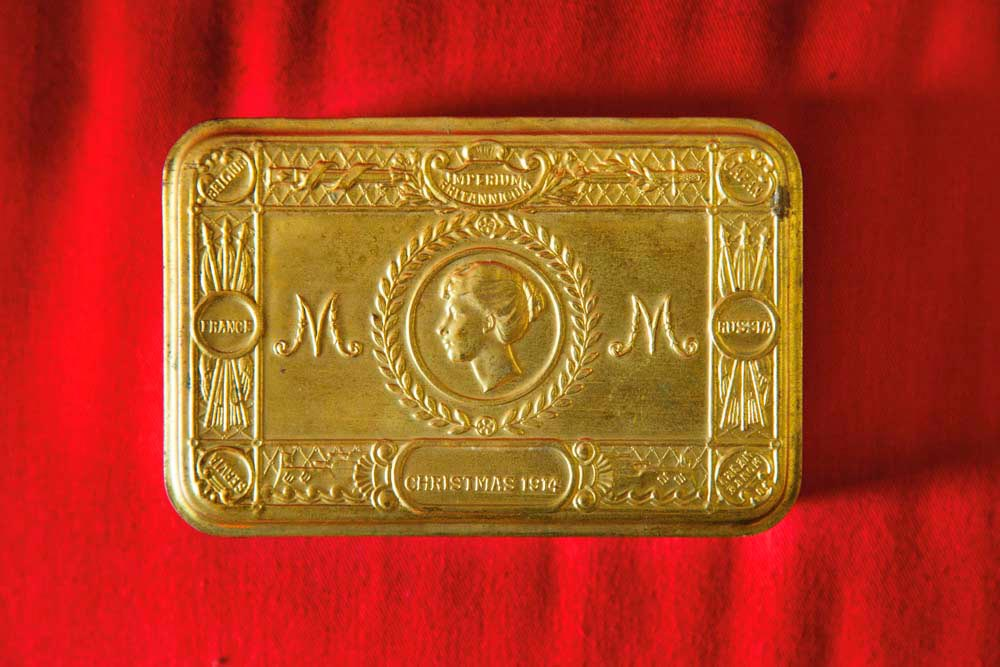Christmas tin from 1914, sent to British soldiers at the front during the First World War. Photo by Mark Lyndersay