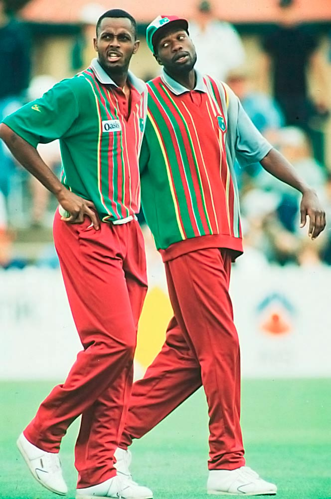 Courtney Walsh with Curtly Ambrose. Photograph by Shaun Rotterill/ Allsport