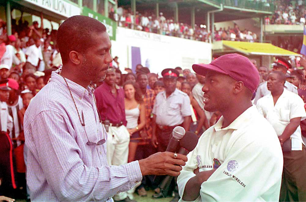 Interviewing WI captain Brian Lara after the dramatic Third Test against Australia (Barbados, 1999). Photograph by Dellmar Photos