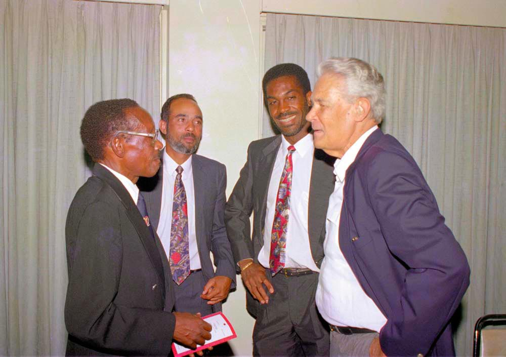 The official launch of the Michael Manley Cricket Trust at the Courtleigh Hotel, Kingston, in 1994. From left: former West Indian cricketers Roy Gilchrist, Jeffrey Dujon, Holding and former Jamaican Prime Minister Michael Manley (now deceased). Photo by Dellmar Photos