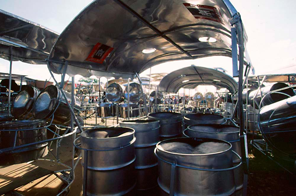 WITCO Desperadoes, Steelband Panorama champions 1999 — steelpans await players on the track leading to the Queen's Park Savannah stage. Photograph by Sean Drakes