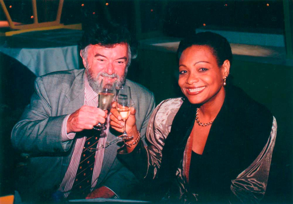 With Test Match Special statistician Bill Frindall, World Cup 1999. Photo courtesy D. Symmonds