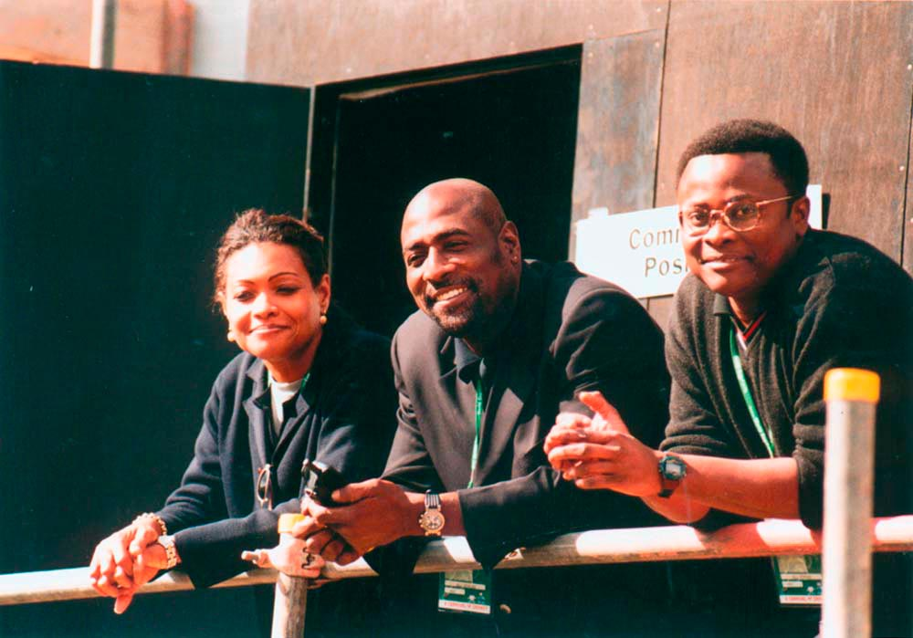 "At the 1999 World Cup with former WI captain Viv Richards: ""I always appreciated his courtesy and the fact that he treated me without any discrimination whatsoever. Real cool fella."" BBC correspondent Orrin Gordon is at right. Photo courtesy D. Symmonds"