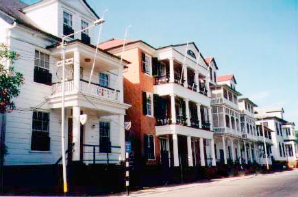 Imposing town houses on Waterfront Street, Paramaribo. Photograph by Simon Lee