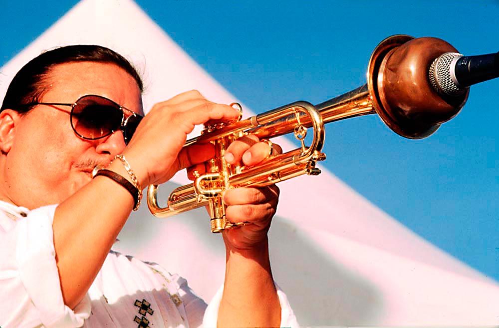 Arturo Sandoval at Fort Jeudy, Spice Jazz Festival 1998. Photo by Chris Huxley