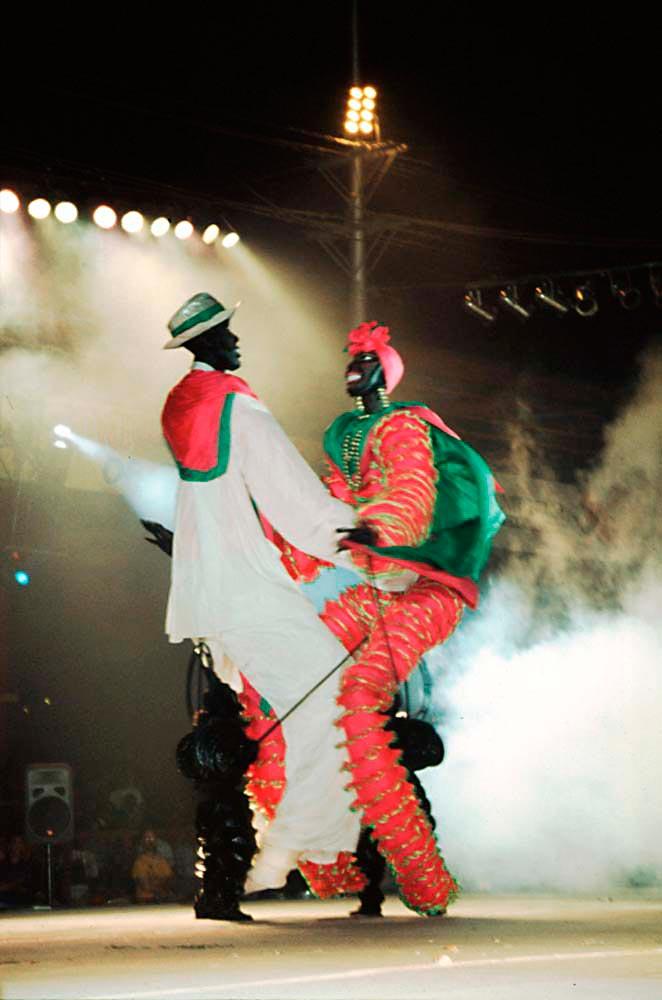 Tan Tan and Saga Boy, Minshall's giant puppets. Photograph by Sean Drakes