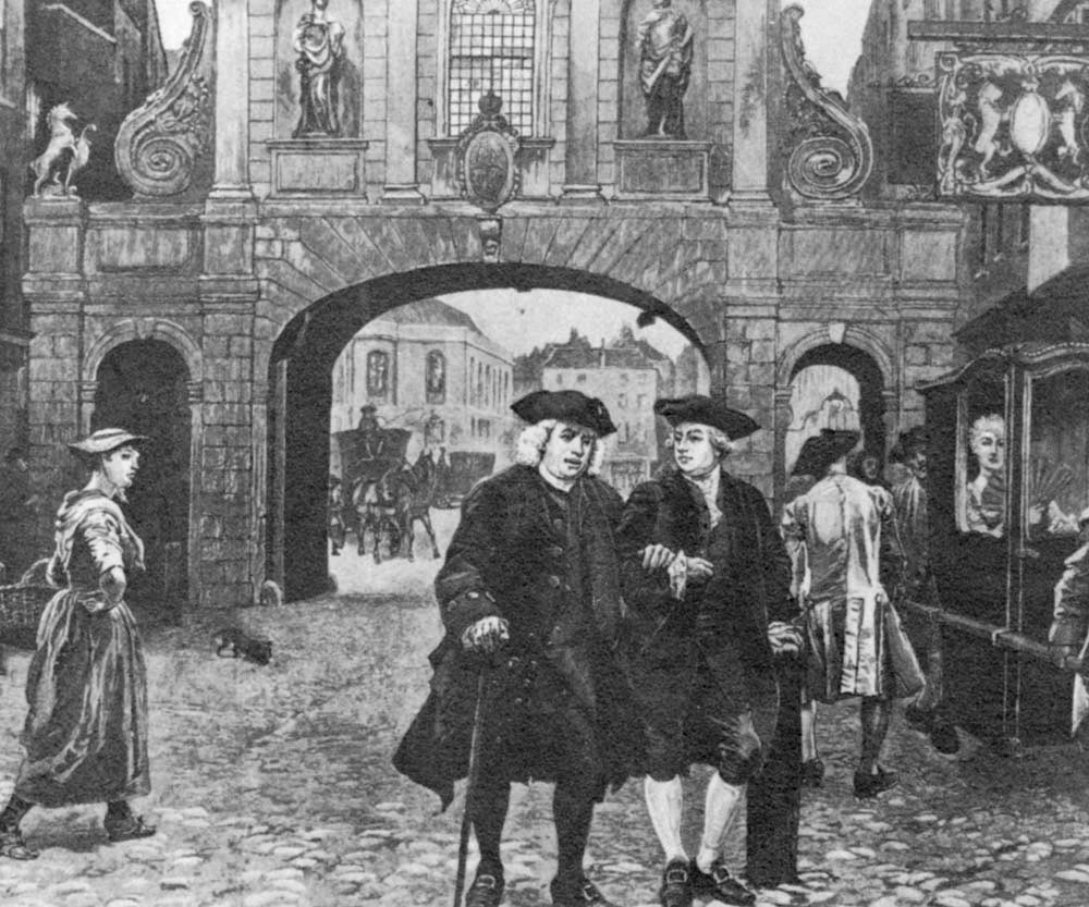A painting by Charles Green of Dr Johnson, left, and James Boswell