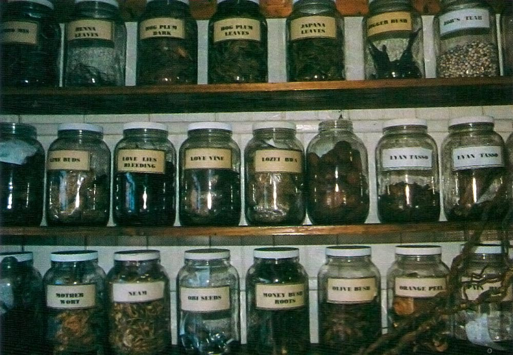Bottles of dried herbs, roots and seeds in Morean's store. Photograph by Mark Meredith