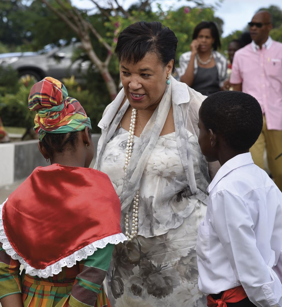 Baroness Scotland in Dominica in 2015, when the Vielle Case Primary School was renamed in her honour. Photo courtesy Charles Jong