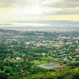 Looking down from the foothills of the Blue Mountains, past New Kingston to the city's downtown and harbour. Photo by Matthew Henry