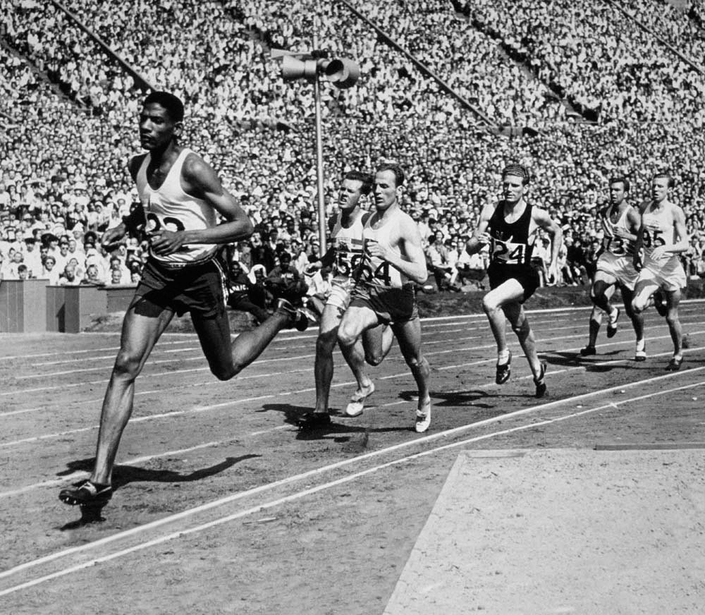 Jamaican Olympic medallist Arthur Wint at the 1948 Summer Games in London. Photo by Central Press/Hulton Archive/Getty Images