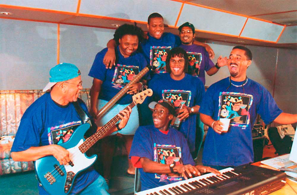 Panazz players during a recording session, 1999. Photograph courtesy Panazz Players