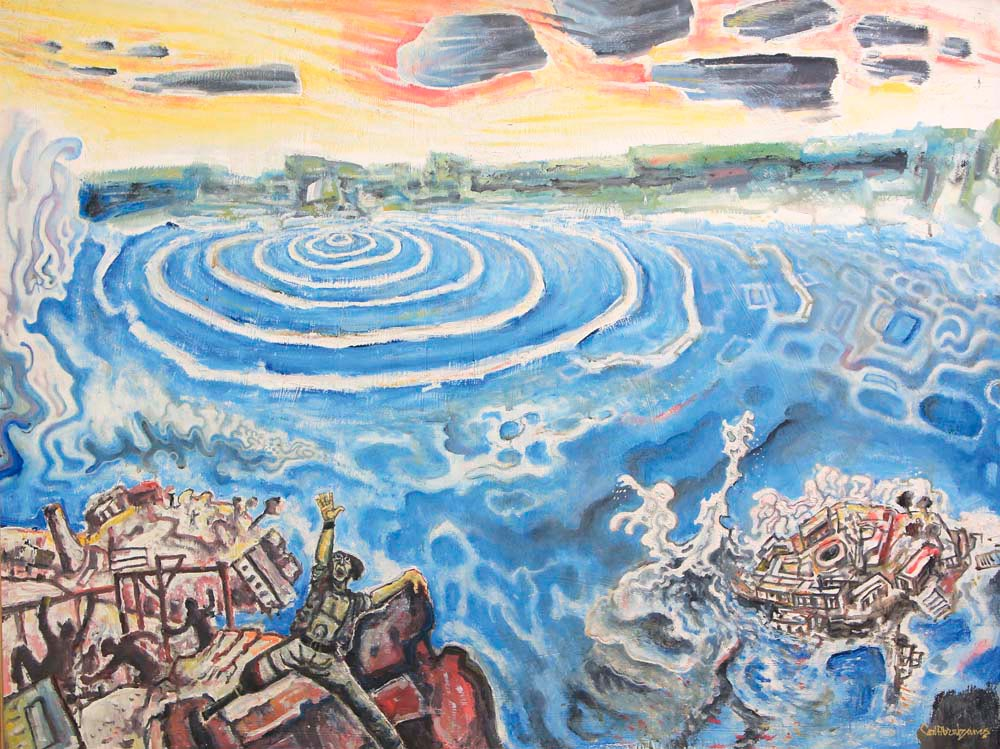 Destruction of Port Royal (oil paint on hardboard, c. 1975), by Carl Abrahams. Pictures courtesy National Gallery of Jamaica