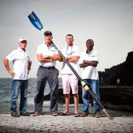 Team Wadadli: from left to right, Peter Smith, Nicholas Fuller, John Hall, and Archie Bailey. Photo by Ben Duffy, courtesy the Talisker Whisky Atlantic Challenge
