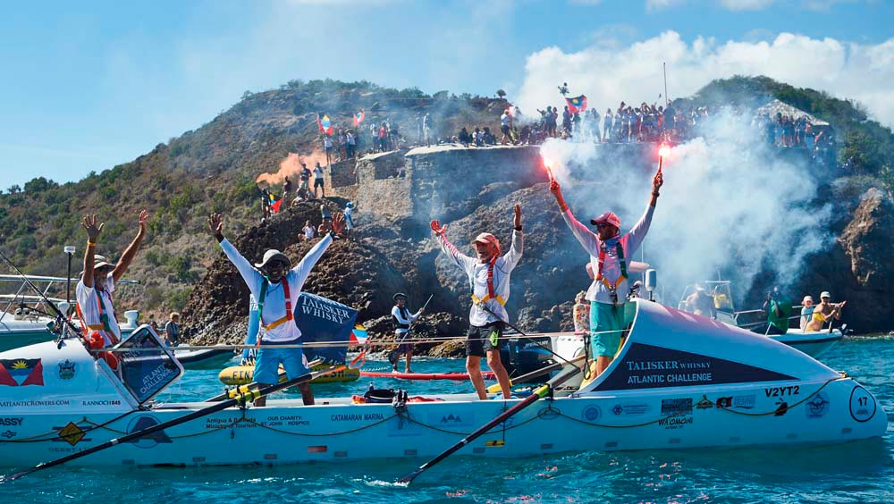 The triumphant return to Antigua. Photo by Ben Duffy, courtesy the Talisker Whisky Atlantic Challenge