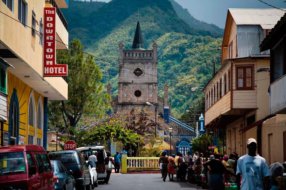The stone tower of the Church of the Assumption dominates Soufrière's main square. Photo by Angus Oborn/LPI/Getty Images