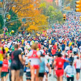 The New York Marathon — the world's largest, by number of competitors — has a course that passes through the city's five boroughs. Photo by Mitchell Funk/PC/Getty Images