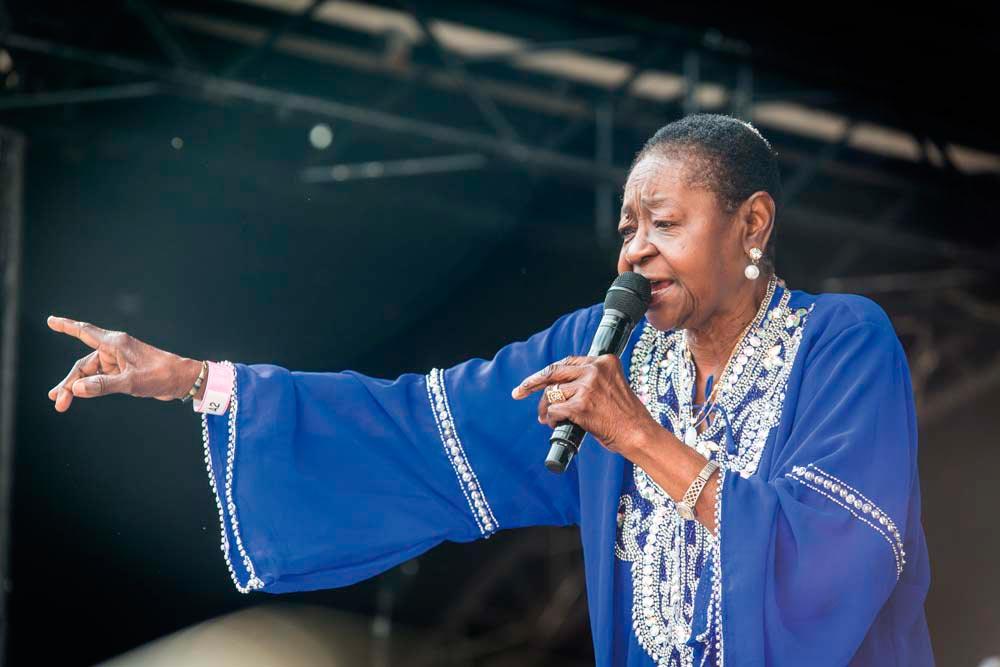 A gruelling schedule of live performances across Europe in the summer of 2016 helped drive Calypso Rose's newfound success. Nurphoto/Getty Images