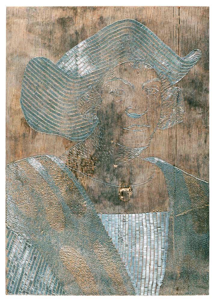 Shooting Back: Christopher Columbus (2004; metal staples on abandoned wood, 80 x 115 cm). Courtesy Sasha Huber