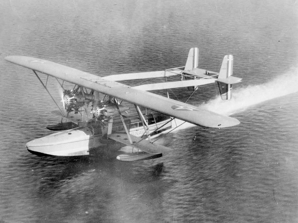 Charles Lindbergh lands a flying boat in Chaguaramas. Photo courtesy Caribbean Airlines