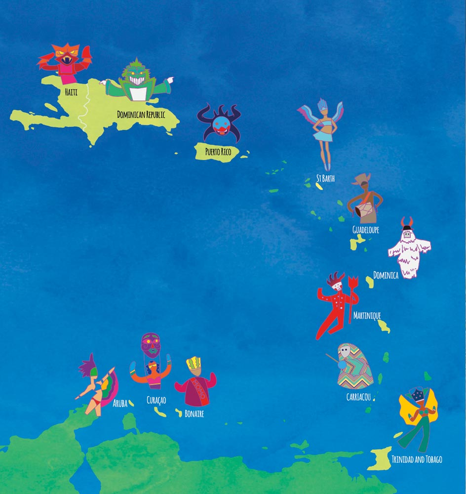 Carnival countries map