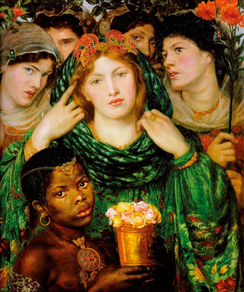 The Beloved (1865–66; oil on canvas), by Dante Gabriel Rossetti. Fanny Eaton is the third bridesmaid from left, her face half visible behind the bride