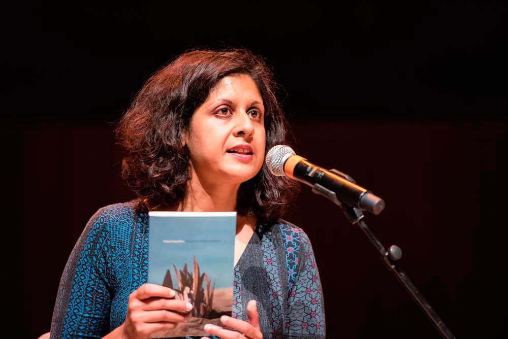 Vahni Capildeo at the 2016 Forward Prize ceremony. Photo by Adrian Pope, courtesy The Forward Arts Foundation