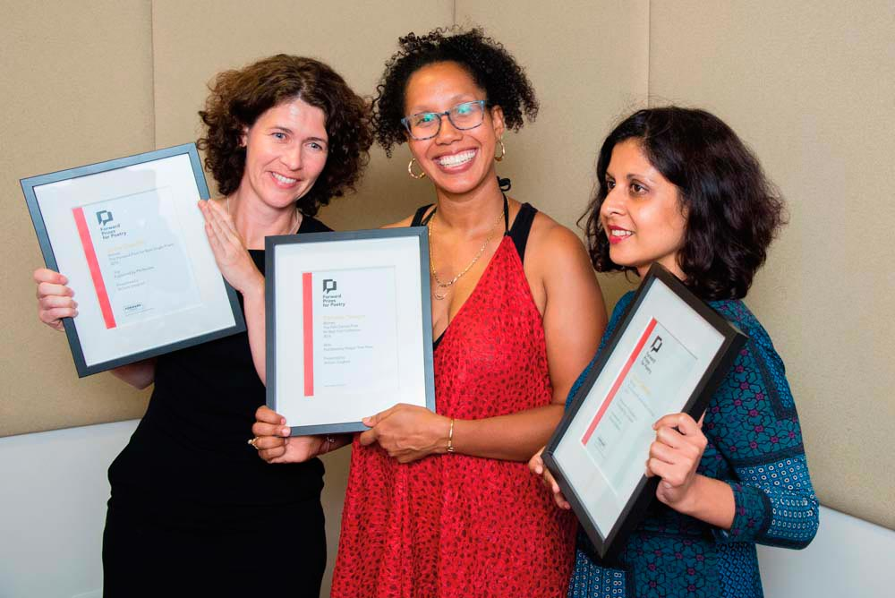 The three winners of the 2016 Forward Prizes: Sasha Dugdale (Best Single Poem), Tiphanie Yanique (Best First Collection), and Capildeo (Best Collection). Photo by Adrian Pope, courtesy The Forward Arts Foundation