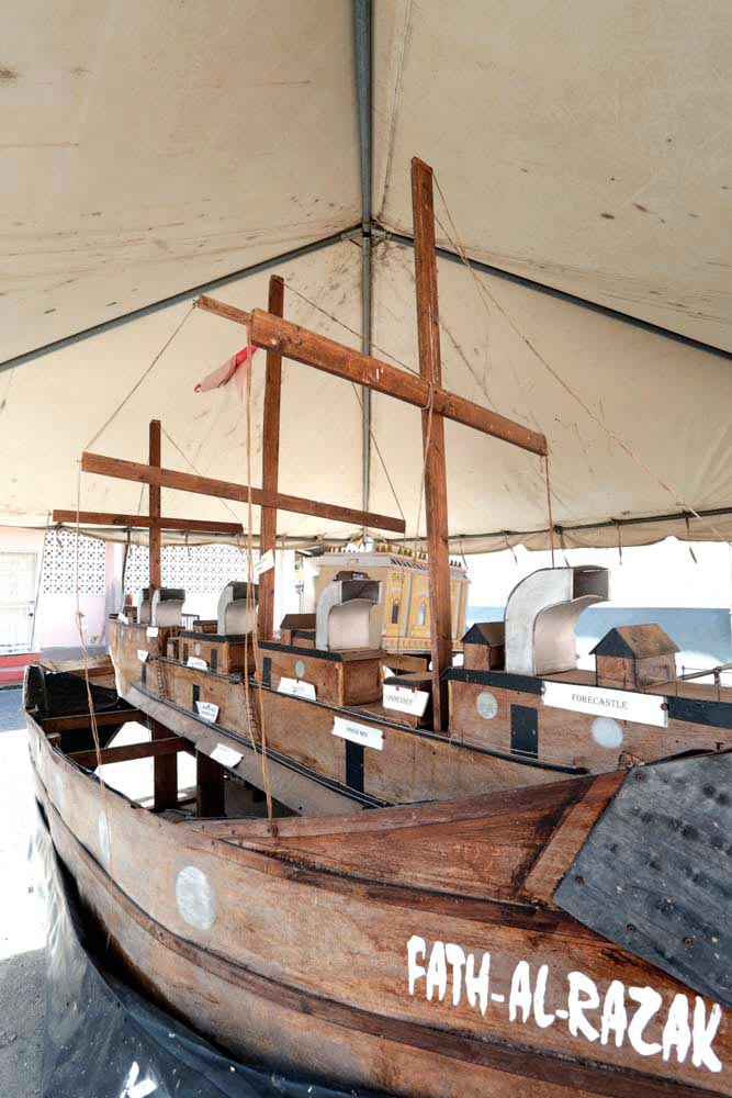 A replica of the ship Fath-al-Razak, which brought indentured labourers from India. . . . Photo by Andrea De Silva