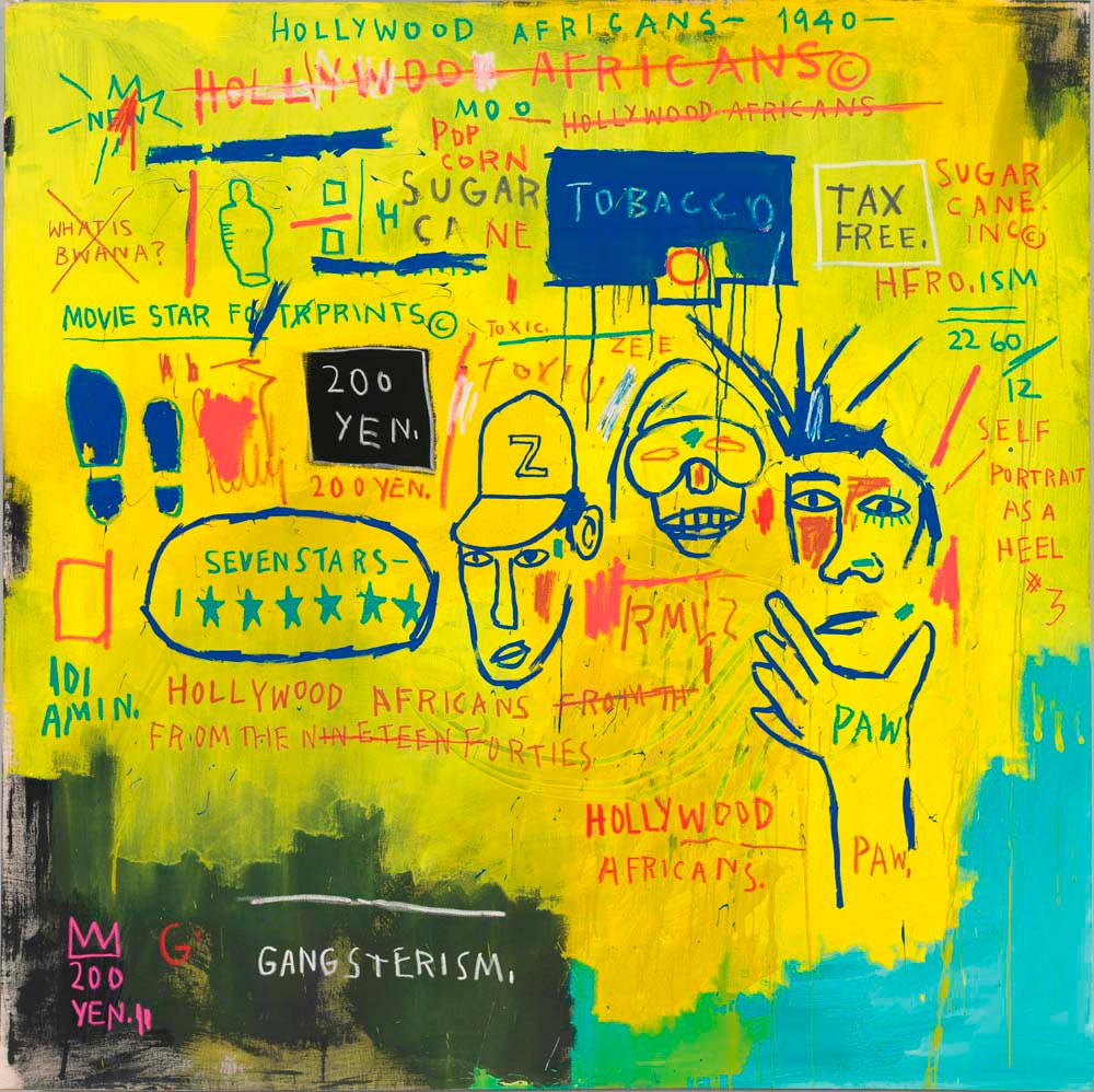 Hollywood Africans (1983, acrylic and oil stick on canvas), by Jean-Michel Basquiat. © The Estate of Jean-Michel Basquiat, Licensed by Artestar, New York, courtesy The Barbican Art Gallery