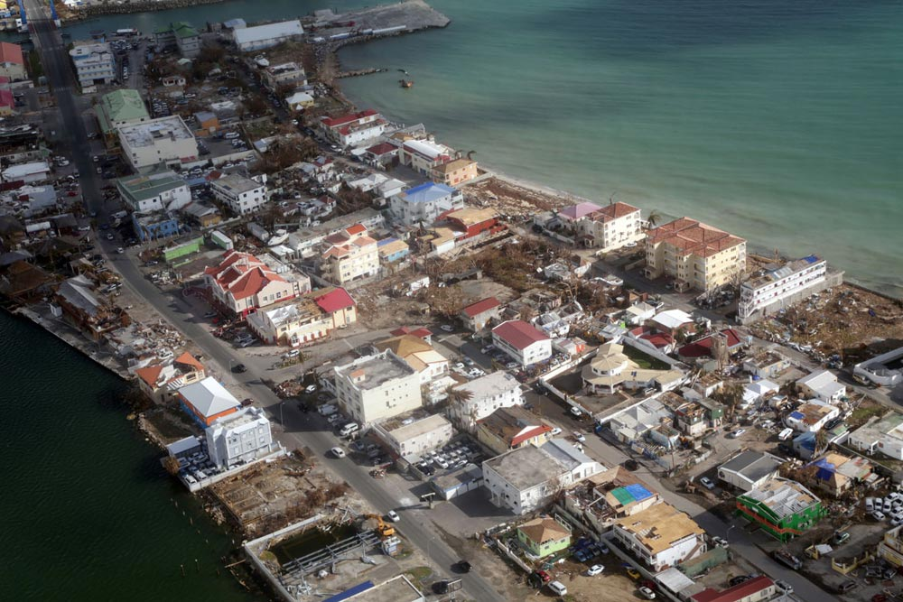 The island of St Martin, which sustained a direct hit from Hurricane Irma, was one of the region's  worst affected
