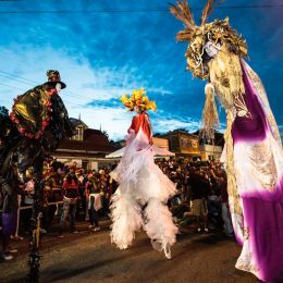 Moko jumbies from the Touch D Sky group join the Canboulay Riots re-enactment at Piccadilly Greens on the Friday before Carnival. Photo by Maria Nunes