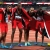 Jarrin Solomon, Lalonde Gordon, Machel Cedenio, and Jereem Richards of Trinidad and Tobago's men's 4x400 metres relay team celebrate after winning gold at the 2017 IAAF World Athletics 