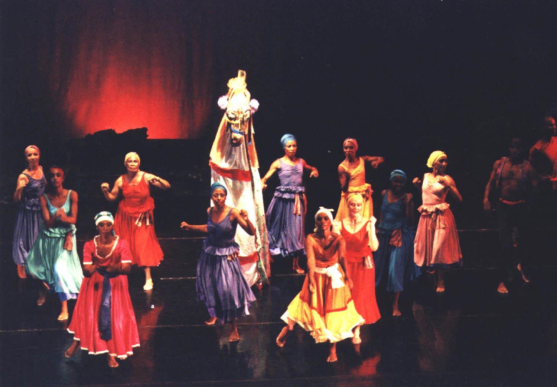 "Gerrehbenta, based on Jamaican ""dead-yard"" ceremonies; choreographed by Rex Nettleford. Photograph by Denis Valentine"