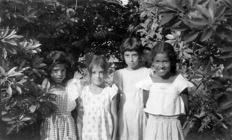 Young Oonya (right) and friends. Photograph courtesy Oonya Kempadoo
