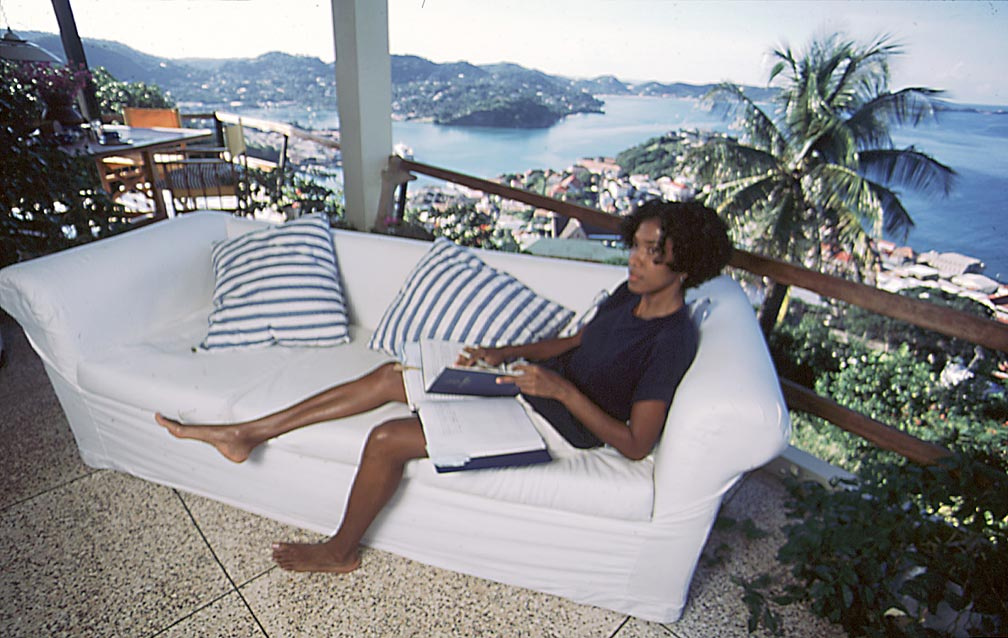 Working at home in Grenada. Photograph by Jim Rudin