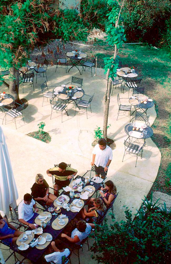 Breakfast in the shade of The Sugar Mill, Harmony Hall. Photo by Chris Huxley