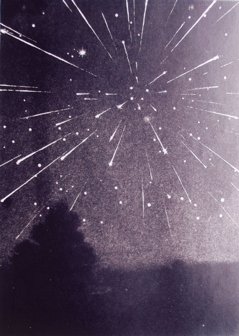Great Leonid meteor shower of 1933. Taken from an old plate by Maura Imbert.